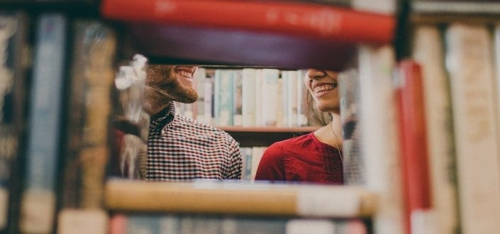 Man and woman on a library