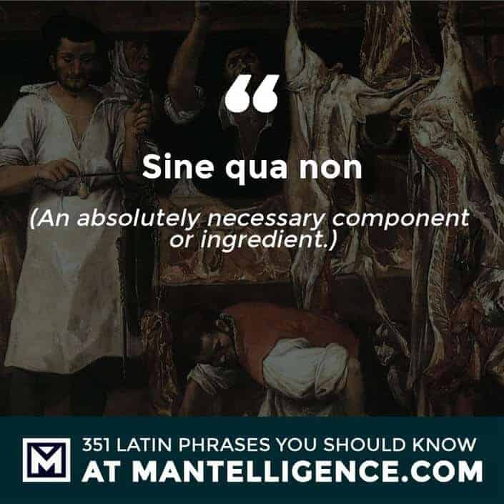 Sine qua non - An absolutely necessary component or ingredient.