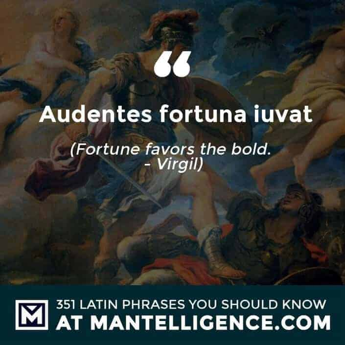 latin quotes - Audentes fortuna iuvat - Fortune favors the bold. - Virgil
