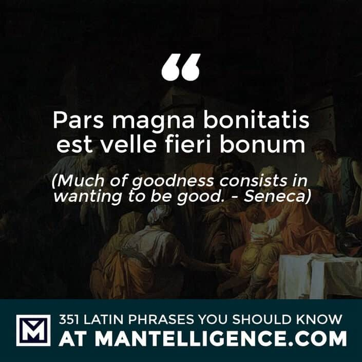 latin quotes - Pars magna bonitatis est velle fieri bonum - Much of goodness consists in wanting to be good. - Seneca