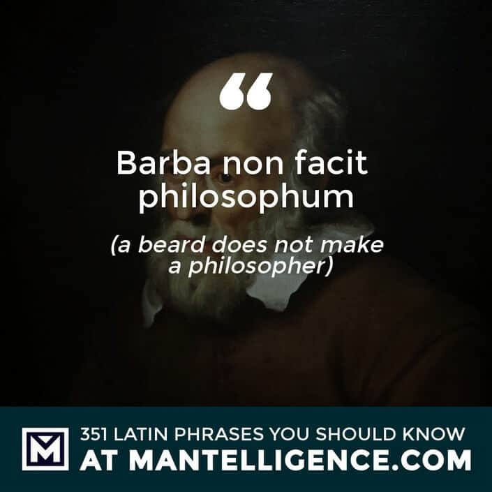 latin quotes - Barba non facit philosophum - a beard does not make a philosopher