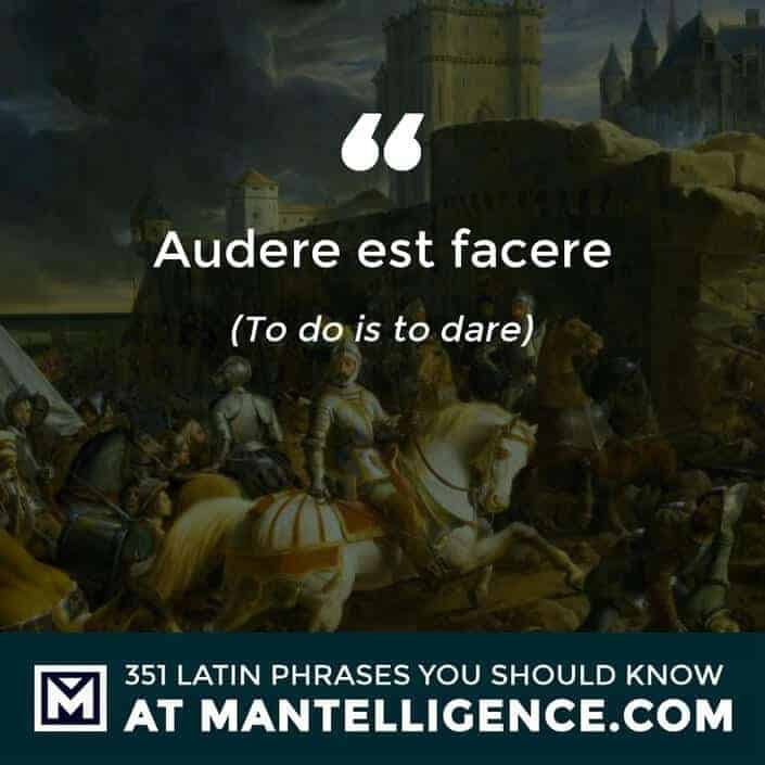 Audere est Facere - To do is to dare