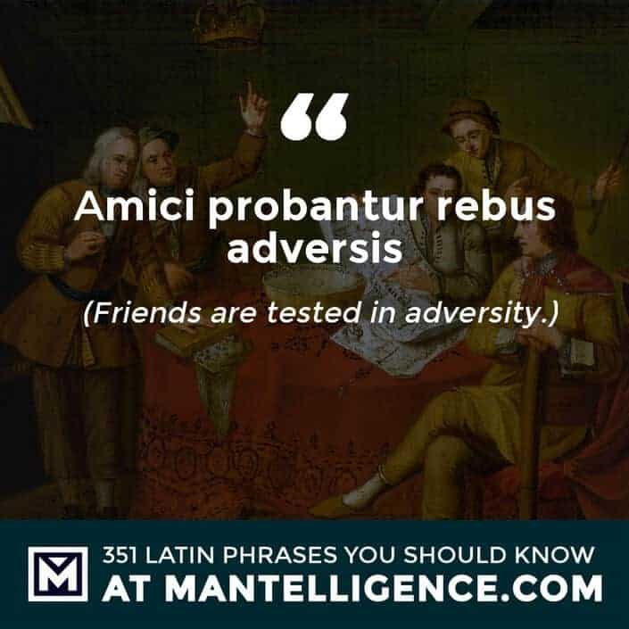 Amici probantur rebus adversis - Friends are tested in adversity.