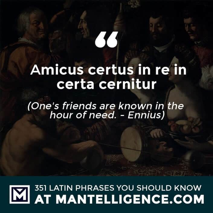 latin quotes - Amicus certus in re incerta cernitur - One's friends are known in the hour of need. - Ennius