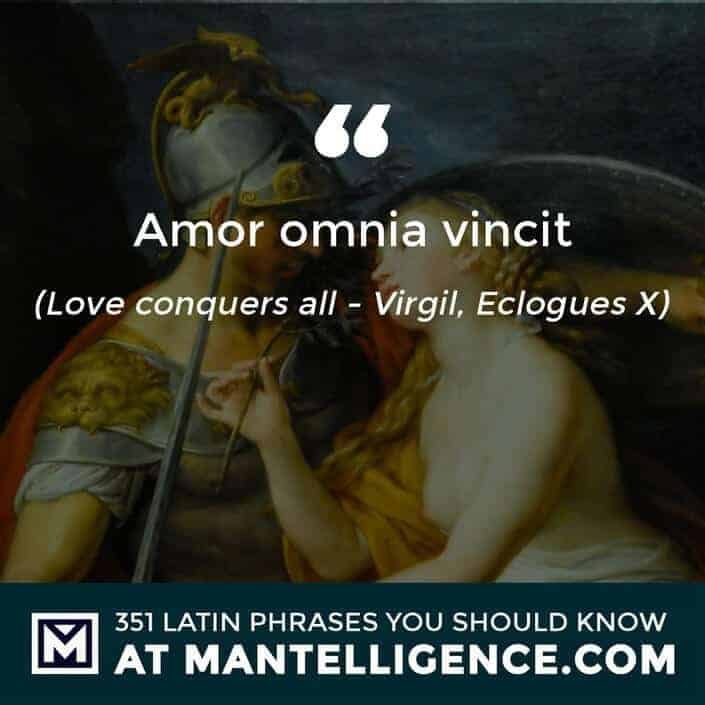 latin quotes - Amor Omnia Vincit - Love conquers all - Virgil, Eclogues X
