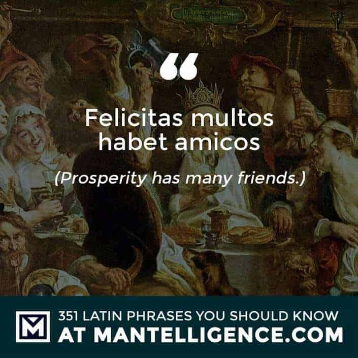 Felicitas multos habet amicos - Prosperity has many friends.