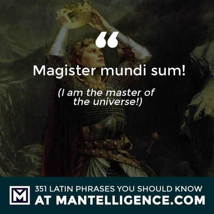 Magister mundi sum! - I am the master of the universe!