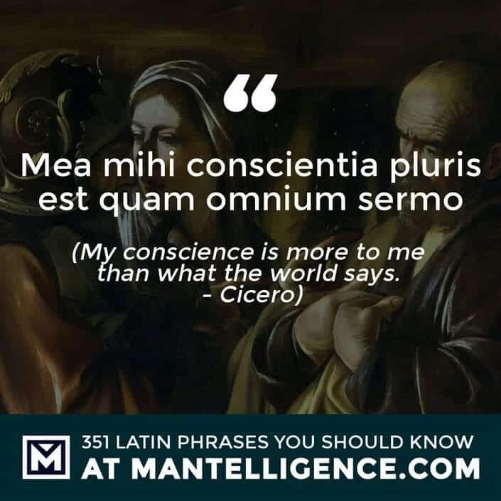 latin quotes - Mea mihi conscientia pluris est quam omnium sermo - My conscience is more to me than what the world says. - Cicero