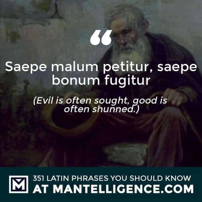 Saepe malum petitur, saepe bonum fugitur - Evil is often sought, good is often shunned.