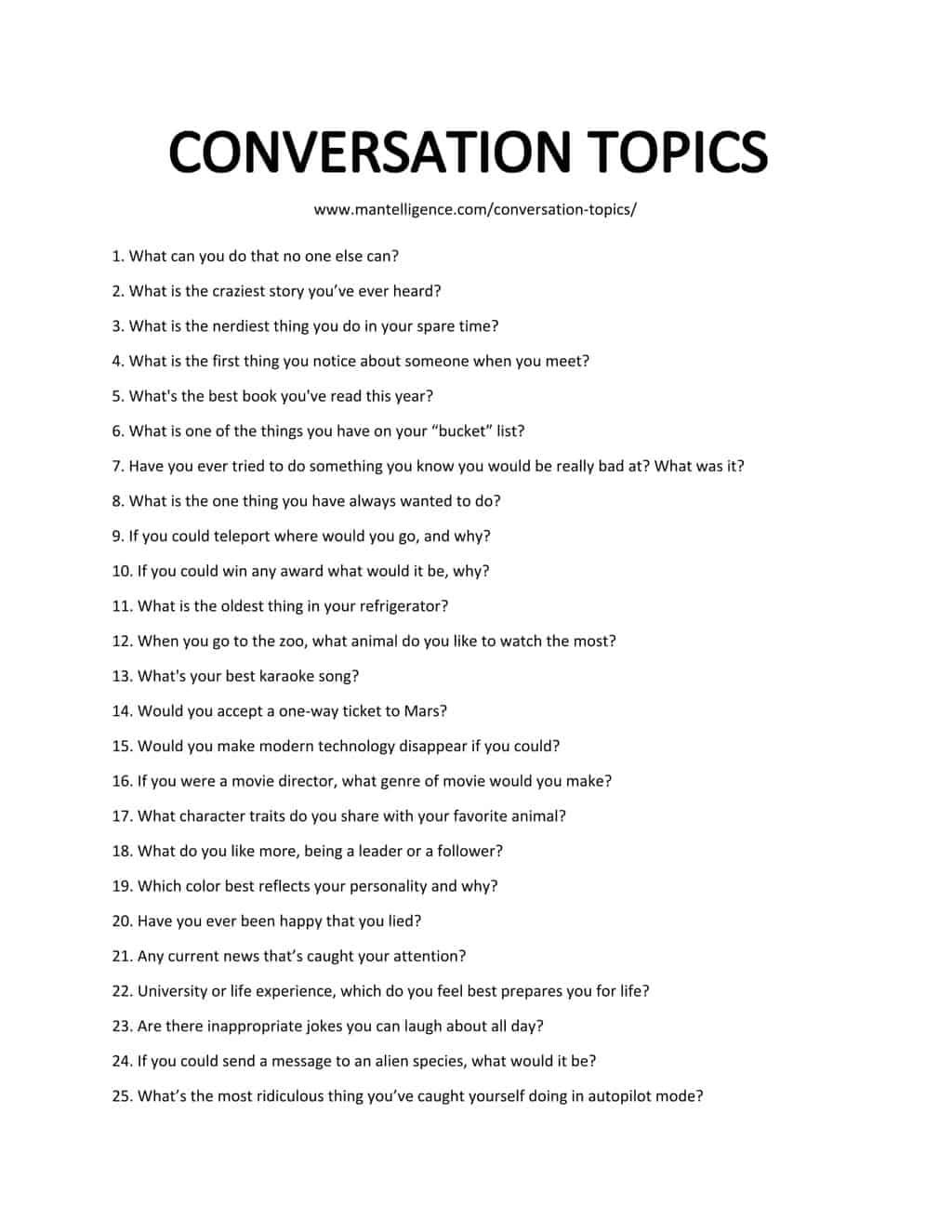 Downloadable list of Conversation Topics
