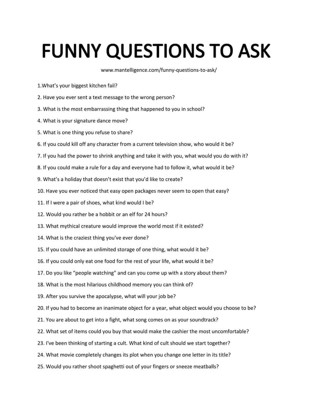 List of Funny Questions To Ask