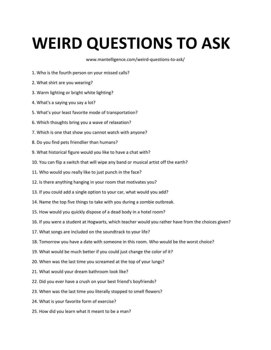 List of Weird Questions To Ask