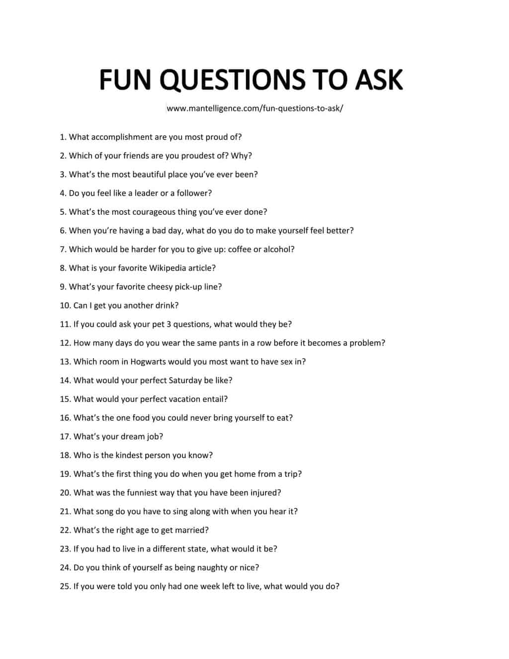 List of Fun Questions to Ask