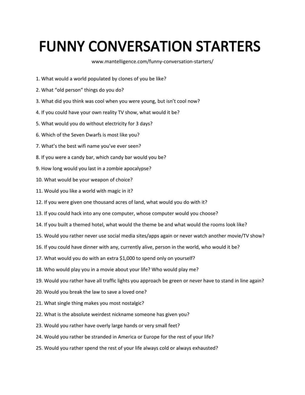 List of Funny Conversation Starters