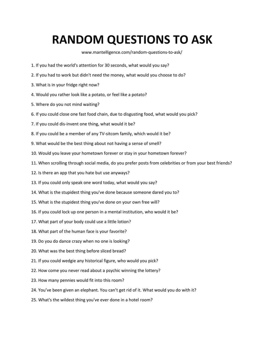 List of Random Questions To Ask