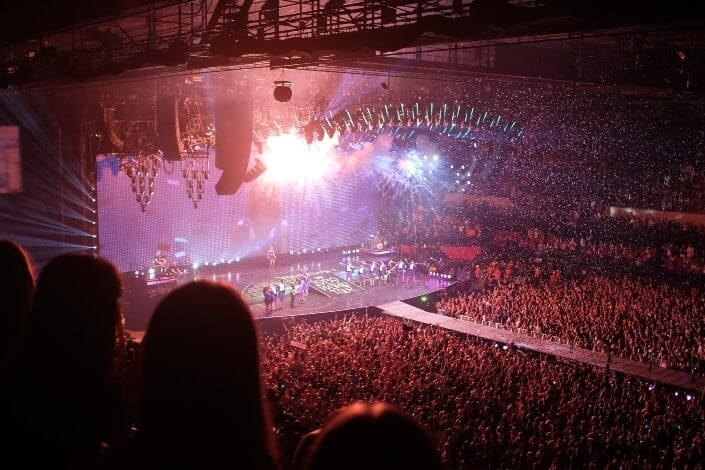 people attending concert