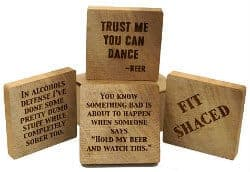 Beer Gifts - Rustic Wood Beer Coasters with Funny Beer Sayings
