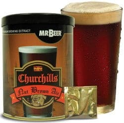 Mr. Beer Churchills Nut Brown Ale 2 Gallon Homebrewing Craft Beer Making Refill Kit with Sanitizer, Yeast and All Grain Brewing Extract Comprised of the Highest Quality Barley and Hops
