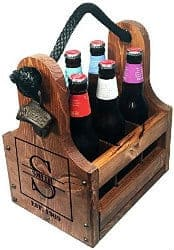 Personalized Wood Beer Caddy with Bottle Opener and Magnetic Bottle Cap Catcher