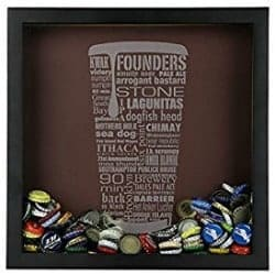 beer gifts - Craft Beer Typography Beer Cap Shadow Box Beer Cap Collector (Black and white)