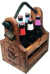 beer gifts - Personalized Wood Beer Caddy with Bottle Opener and Magnetic Bottle Cap Catcher