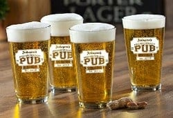 beer gifts - Set of 4 Personalized Neighborhood Pub Pint Glasses