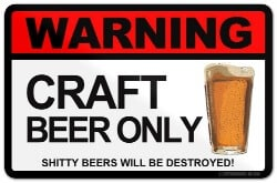 craft beer gifts - WARNING CRAFT BEER ONLY FRIDGE STICKER KEGERATOR REFRIDGERATOR