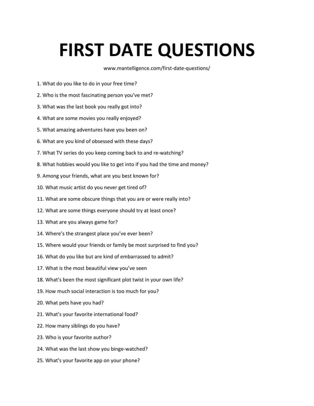 List of First Date Questions