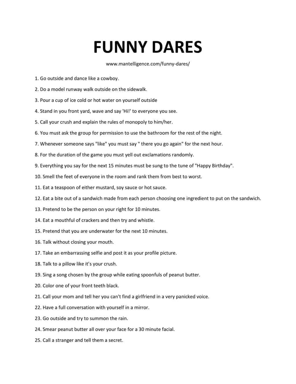 47 Incredibly Funny Dares The Only List You Ll Need