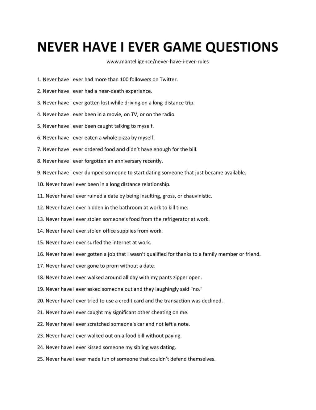 List of Never Have I Ever Rules