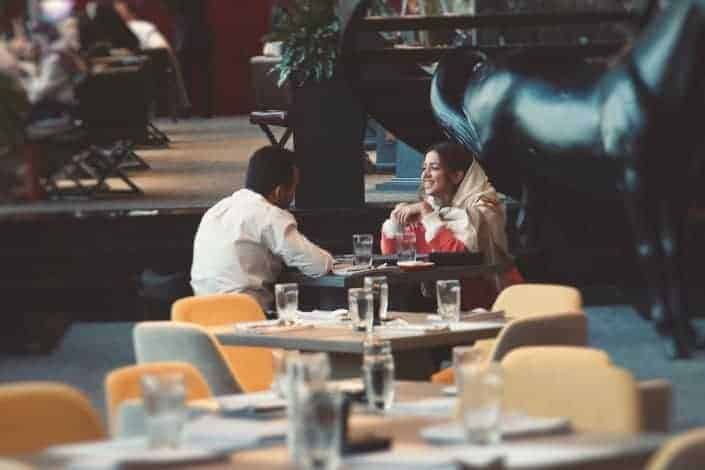 Couple talking in a restaurant