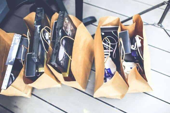 Shopping bags with newly-bought items.