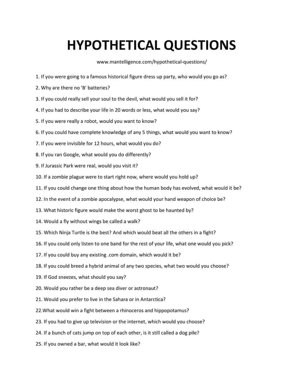 List Of Hypothetical Questions