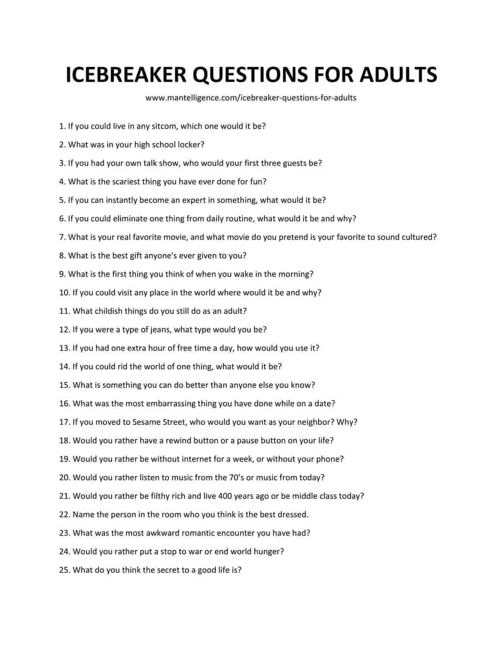 List of Icebreaker Questions For Adults