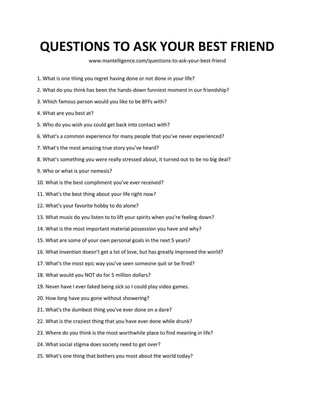 List of Questions To Ask Your Best Friend