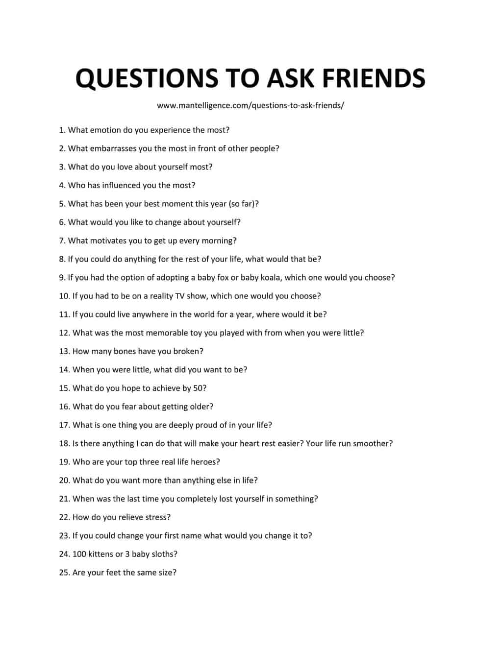 List of Questions To Ask Friends