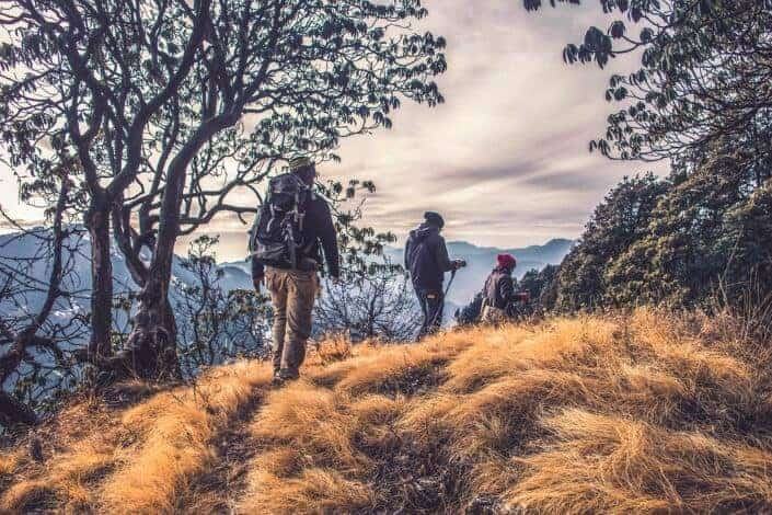 Three people hiking.