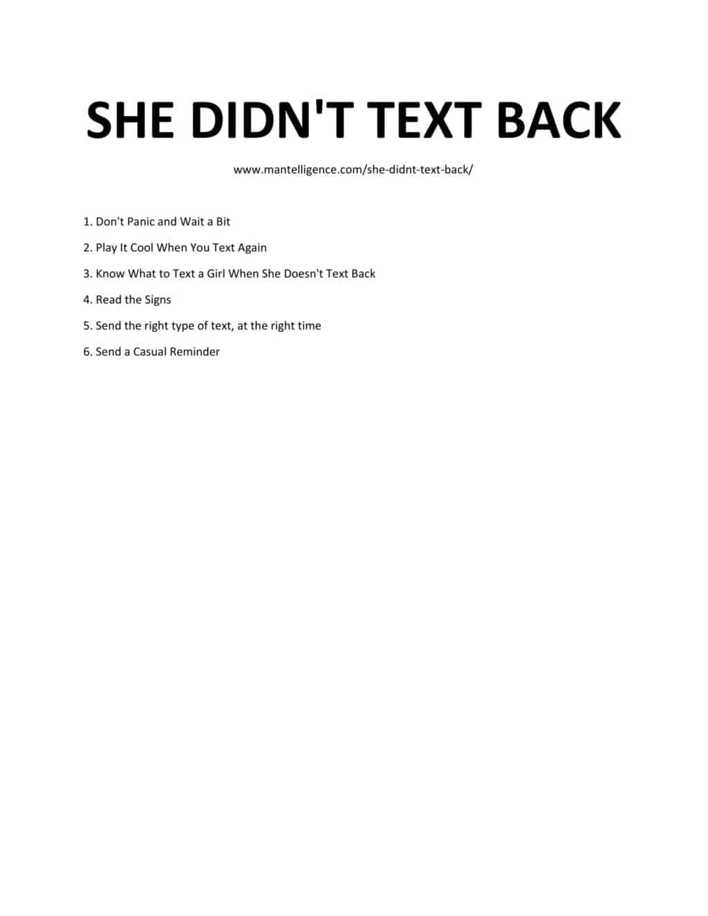 Downloadable list of steps of when She Didn't Text Back