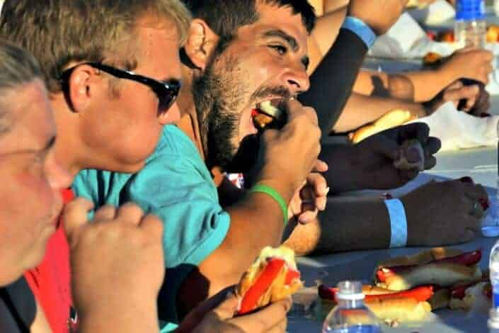 man eating for a food eating contest