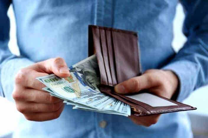 money inside of a wallet