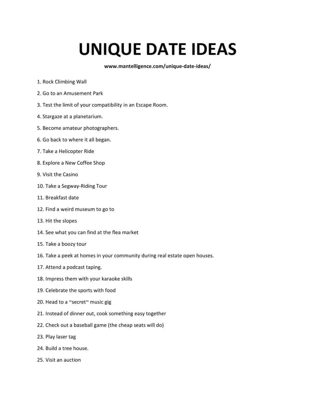 Downloadable and Printable List of Unique Date Ideas
