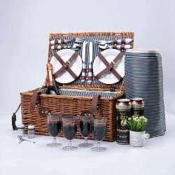 4 Person Wicker Picnic Basket Hamper Set (1)