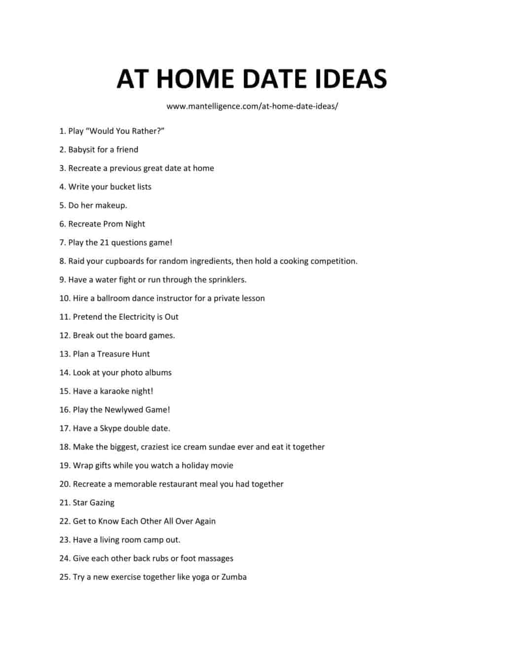 Downloadabli List of At Home Date Ideas