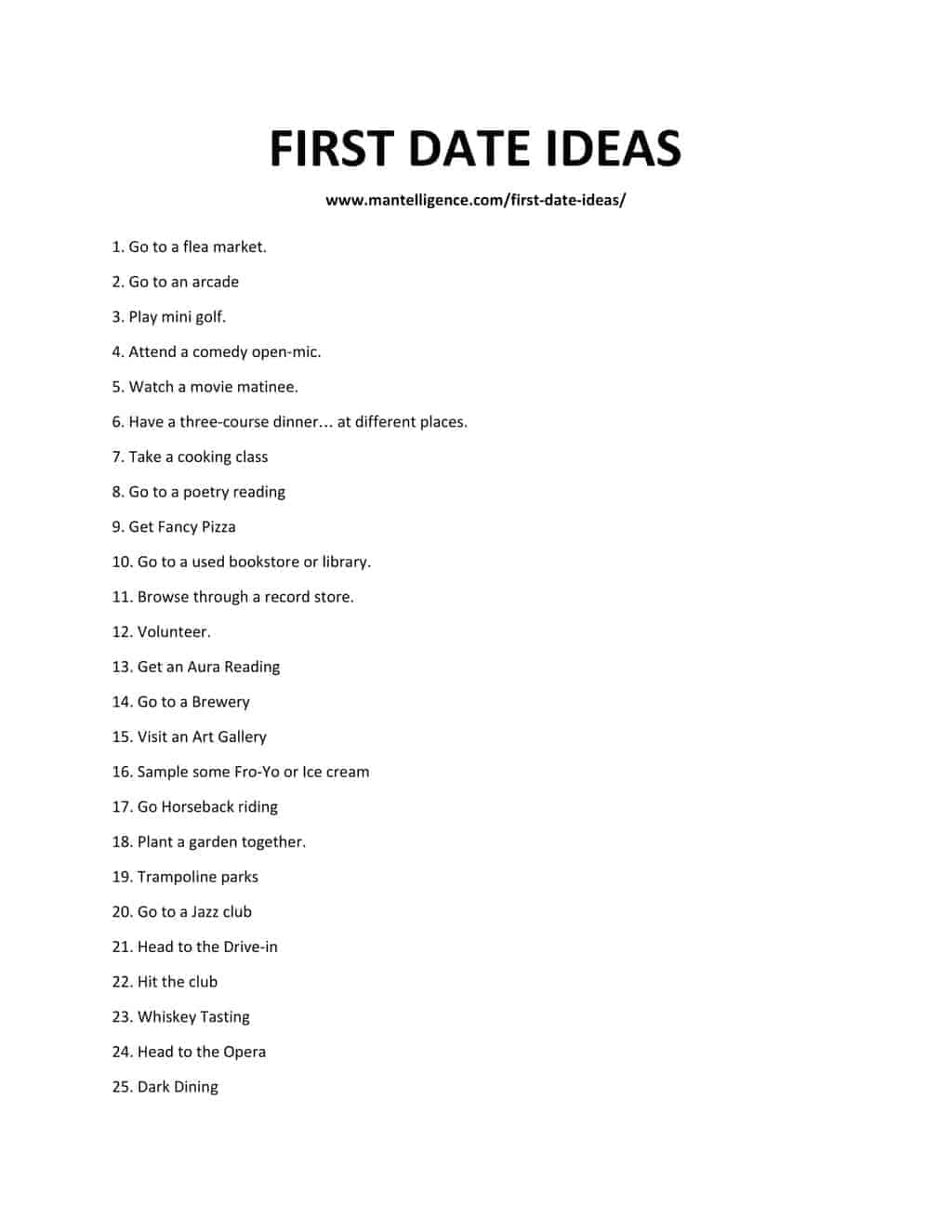 Downloadable list of first date ideas