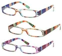 Stocking Stuffers For Her - GAMMA RAY 3 Pairs Ladies Slim Fashion Readers Colorful Reading Glasses