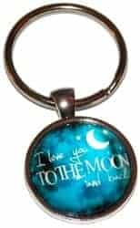 Stocking Stuffers For Her - I Love You To The Moon And Back Keychain Key Chain Ring Mom
