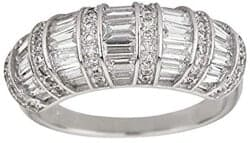 Stocking Stuffers For Her - Sterling Silver Rhodium Round And Baguette Cut Antique Fashion Cubic Zirconia Ring