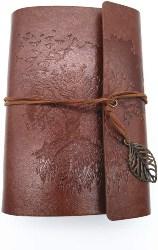 Vintage Leaf Leather Cover Loose Leaf Blank Notebook Journal (1)