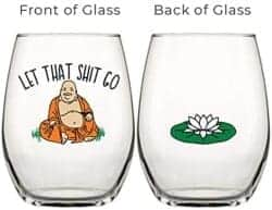 101 Birthday Gifts for Girlfriend - Drinking Divas Let That Sh t Go Buddha Wine Glass