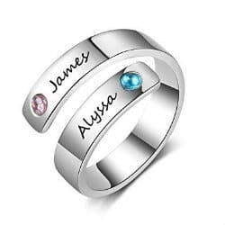 2. Wrap Rings with 2 Simulated Birthstones